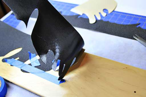 How to cut and apply grip tape via lilblueboo.com #skateboard #diy #gift #handmade