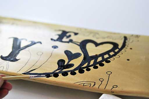 Customize skateboard deck with paint via lilblueboo.com #skateboard #diy #gift #handmade