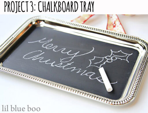 4 Pinterest Party Craft Projects: DIY Chalkboard Paint Dollar Store Tray via lilblueboo.com #chalkboard