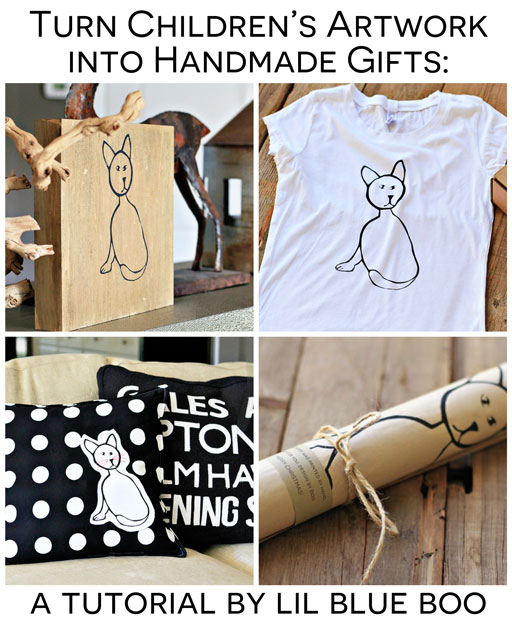 Handmade Holiday Gift Ideas: Turn Children's Artwork into meaningful handmade gifts with these ideas via lilblueboo.com #gifts #diy #tutorial