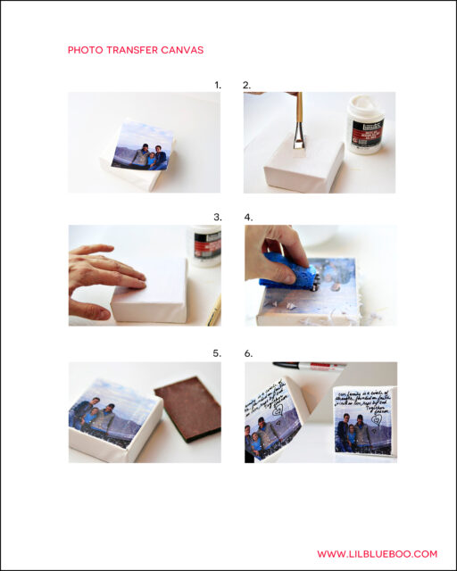 Free Photo Transfer Instagram Canvas Tutorial PDF Instructions for a Pinterest Craft Party via lilblueboo.com