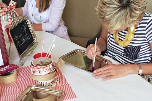 DIY Chalkboard Paint Dollar Store Ribbon Tray Project via lilblueboo.com #chalkboard