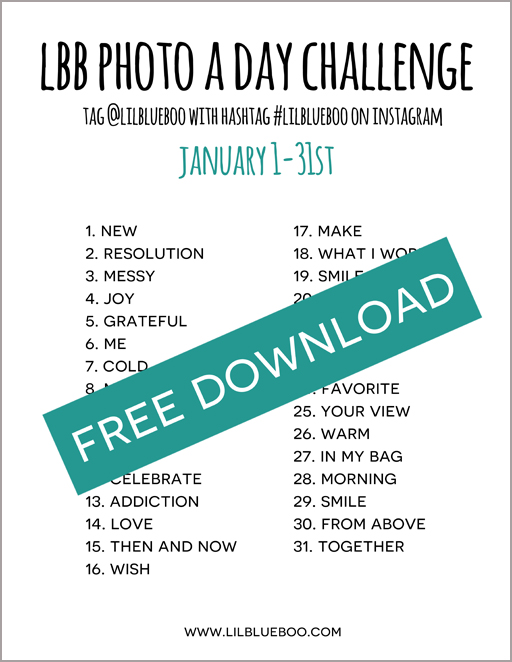 LBB Photo A Day Challenge for January - Free Download! via lilblueboo.com