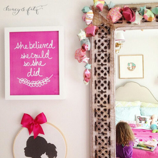 Free Printable She Believed She Could So She Did Art Print for Big Girl Room | Ashley Hackshaw / lilblueboo.com