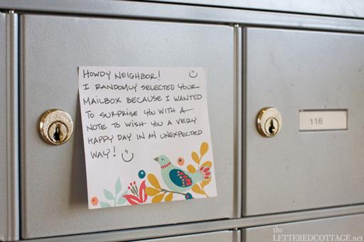 Random Acts of Kindness Week: place a kind note on a mailbox via Ashley Hackshaw / lilblueboo.com