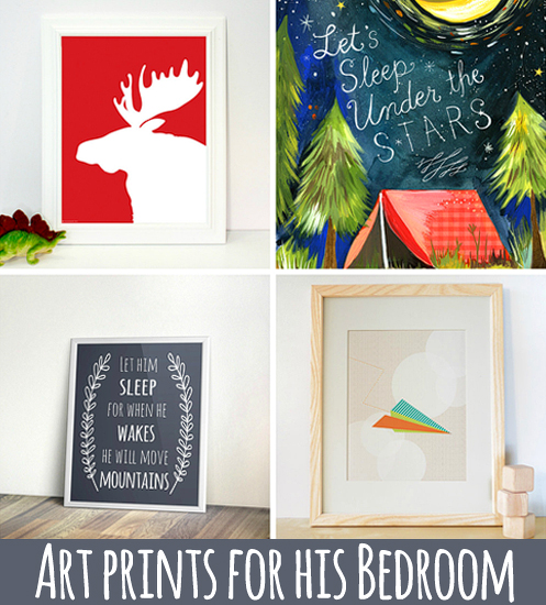 Wall Art Prints for a Boy Room via Ashley Hackshaw / lilblueboo.com