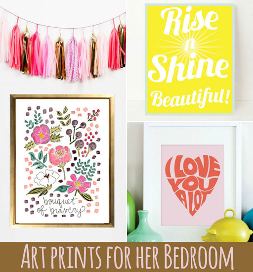 Wall Art Prints for a Big Girl Room via Ashley Hackshaw / lilblueboo.com