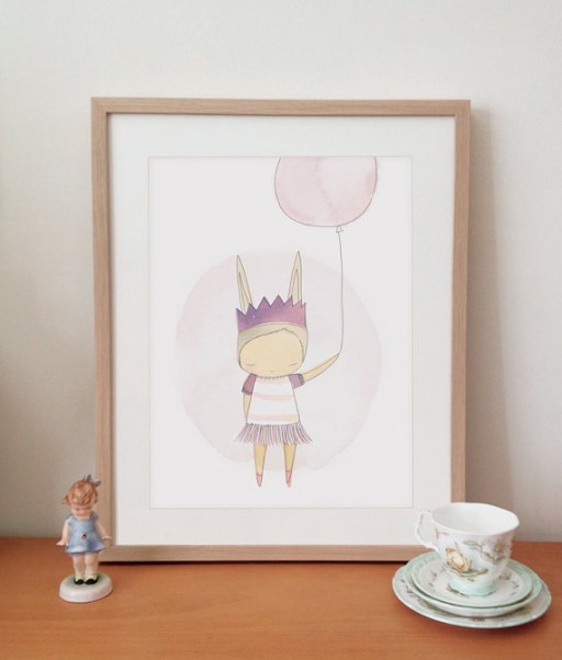 Ballerina Bunny Art Print for Big Girl Room | Ashley Hackshaw / lilblueboo.com