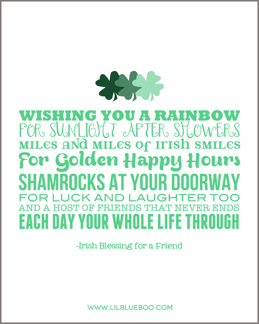 Free St. Patrick's Day 8x10 Printable Artwork with White Background via Ashley Hackshaw / lilblueboo.com