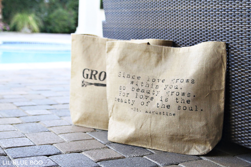 Add a quote to a burlap bag for a gift via Ashley Hackshaw / lilblueboo.com