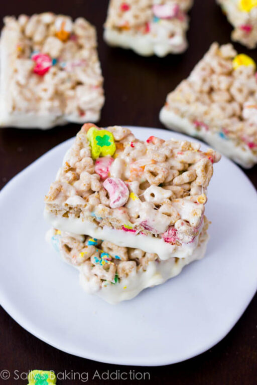 St. Patrick's Day Food Ideas: White Chocolate Lucky Charm Treats by Sally's Baking Addiction via Ashley Hackshaw / lilblueboo.com