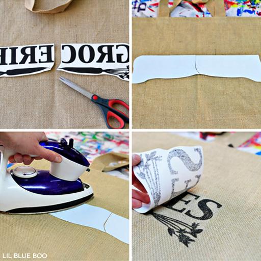 Transfer Paper Process for Personalized Bags via Ashley Hackshaw / lilblueboo.com