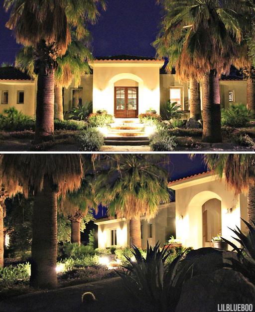 the new landscape lighting at night - Desert Architecture / Landscape Design Ideas via Ashley Hackshaw / Lil Blue Boo