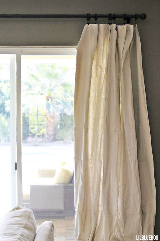 DIY Curtains made out of painters drop cloth canvas via Ashley Hackshaw / Lil Blue Boo