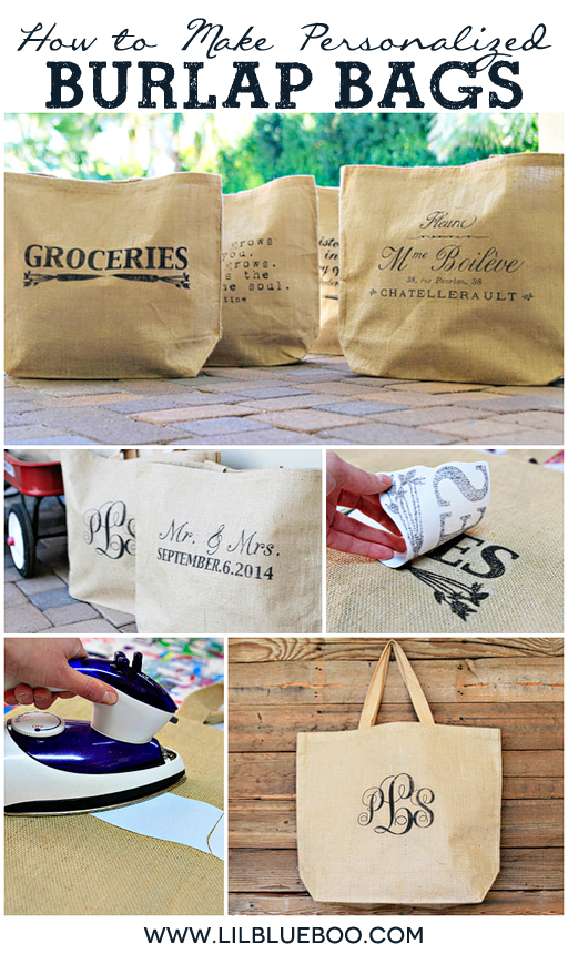 Gift Idea for Bridesmaids, Wedding Party, Graduation Etc: How to Make Personalized Burlap Bags via Ashley Hackshaw / lilblueboo.com #burlap #diy #tutorial #wedding #rustic #diywedding