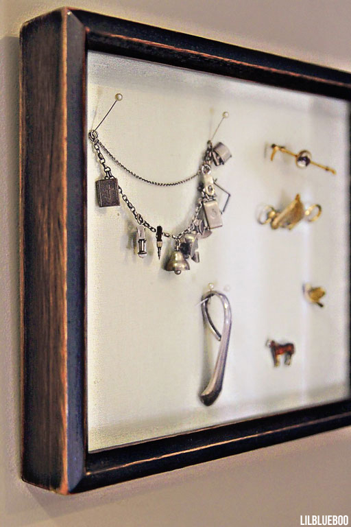 Bathroom decor ideas, how to display jewelry in a shadowbox - via lilblueboo.com #shadowbox #jewelry
