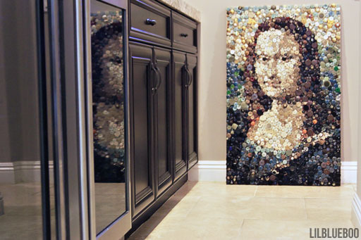 Recycled Mona Lisa Art (made with buttons) - the wine fridges