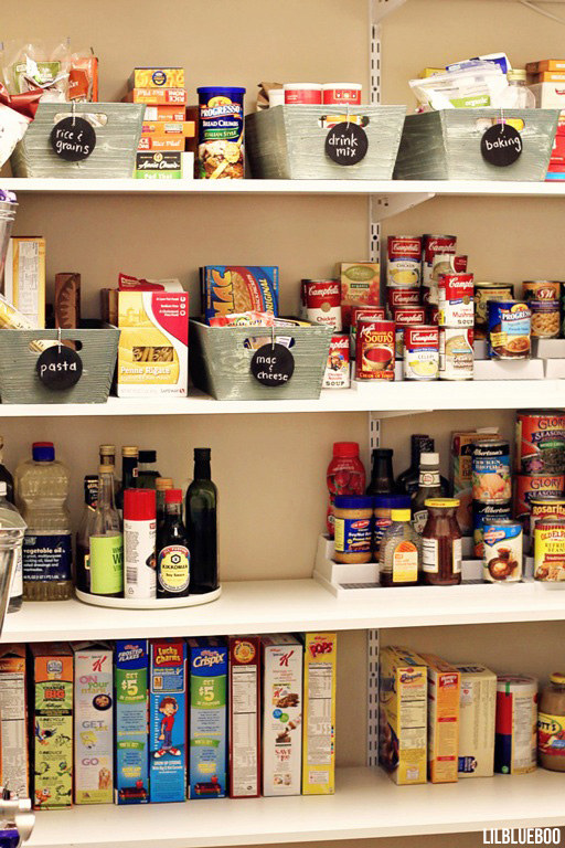 Kitchen Makeover / Renovation - Pantry Storage Organization and Labeling - DIY Shelves