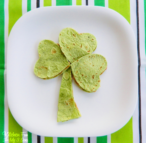 St. Patrick's Day Food Ideas: Shamrock Quesadilla by Kitchen Fun with My 3 Sons via Ashley Hackshaw / lilblueboo.com