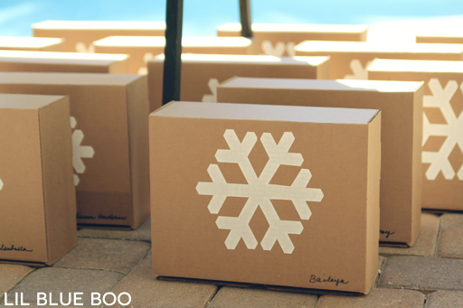 Snowflake Boxes for Kids Craft for a Frozen Winter Birthday Party via Ashley Hackshaw / lilblueboo.com #frozen