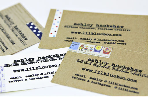 My recycled business cards with decorative tape to add interest via Ashley Hackshaw / Lil Blue Boo #businesscards #recycled #diy