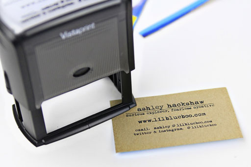 Stamping my Recycled Business Cards  via Ashley Hackshaw / Lil Blue Boo #businesscards #recycled #diy