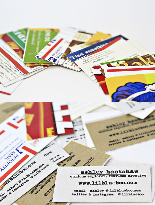 A variety of my recycled business cards via Ashley Hackshaw / Lil Blue Boo #businesscards #recycled #diy
