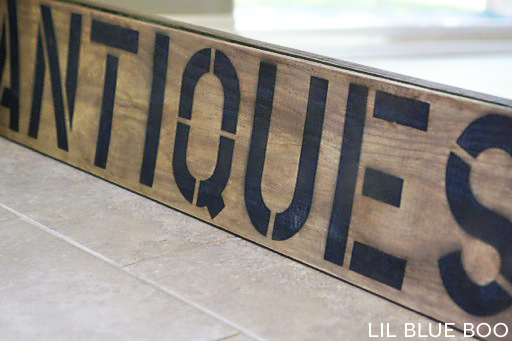 """A 10-minute DIY antique / aged """"Antiques"""" sign using vinegar and steel wool."""