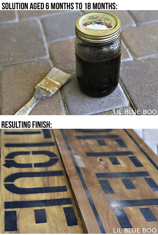 Aging Wood: Vinegar & Steel Wool Solution  (if you leave it long enough the steel wool disintegrates completely and the mixture is allowed to produce rust, adding a reddish brown tone)