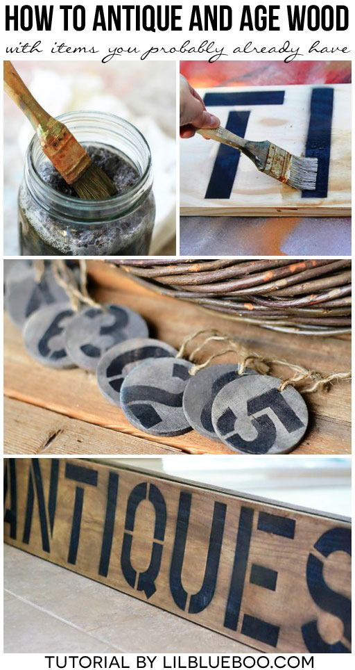How to Antique and age wood instantly with items you p (weathering wood with vinegar and steel wool)