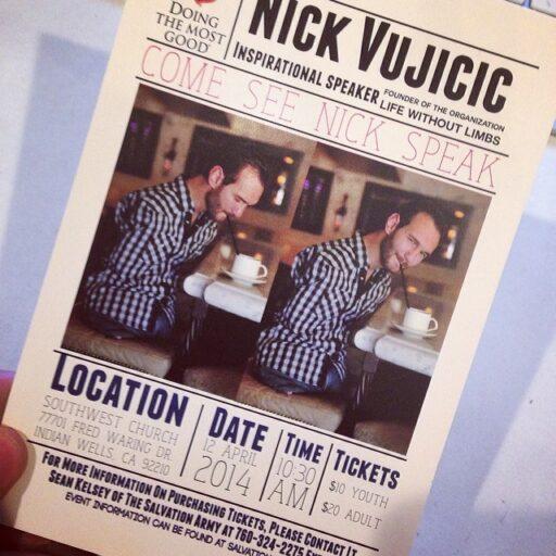 Nick Vujicic Life without Limbs speaking in Palm Desert via Ashley Hackshaw / Lil Blue Boo #inspiration #nickvujicic #salvationarmy #lifewithoutlimbs