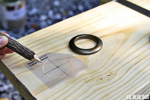 Adding a metal grommet to an oversized wood ruler