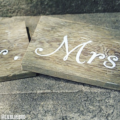 mr and mrs handpainted barn wood signs for rustic wedding