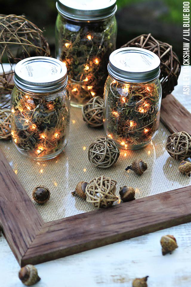 Fall Table Decor Mason Jar Firefly Lanterns