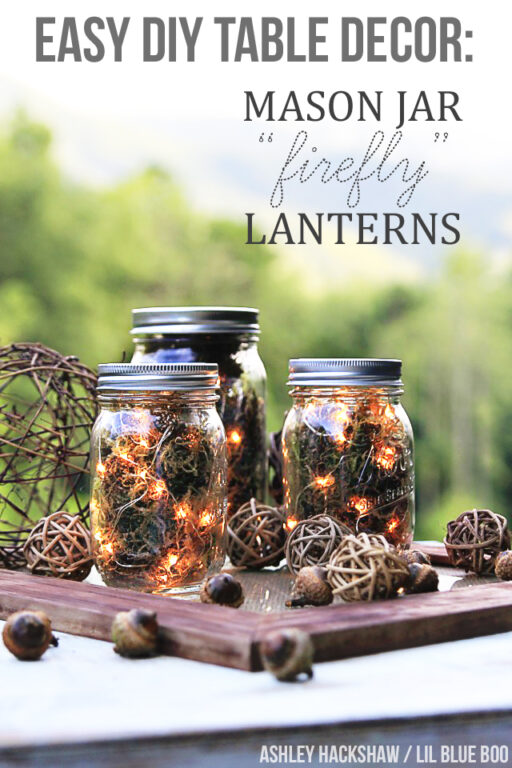 Easy Fall Table Decor: Mason Jar Lantern Lights using LEDs #wedding #fall #entertaining #masonjar