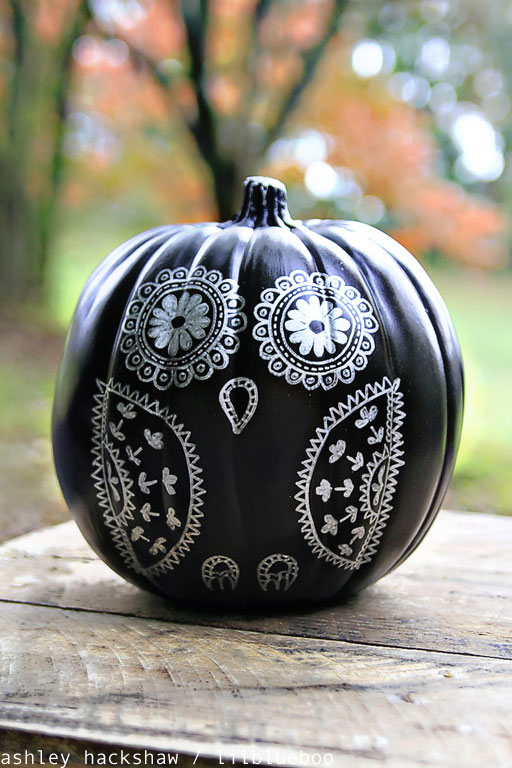 Decorating a chalkboard paint pumpkin with sharpie