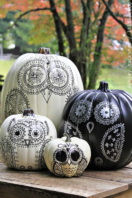 creative pumpkin decorating ideas - owl pumpkin