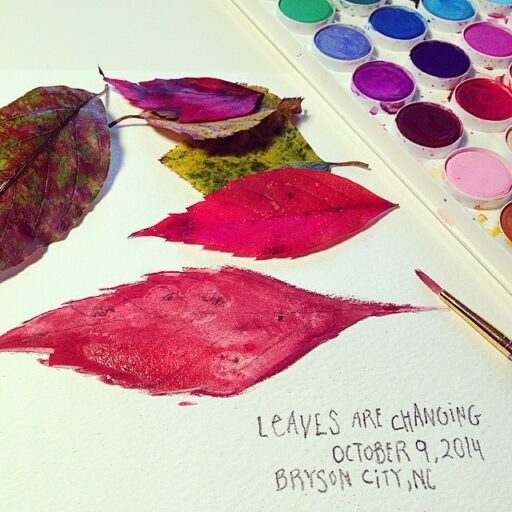 Painting Leaves - Watercolors