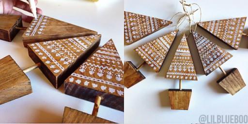 Scandinavian Doodle Tree Ornament Handmade