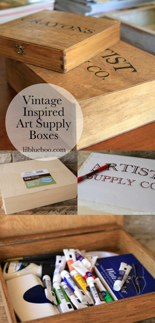 Craft Room Organization - Vintage Inspired art supply boxes via lilblueboo.com and #michaelsmakers