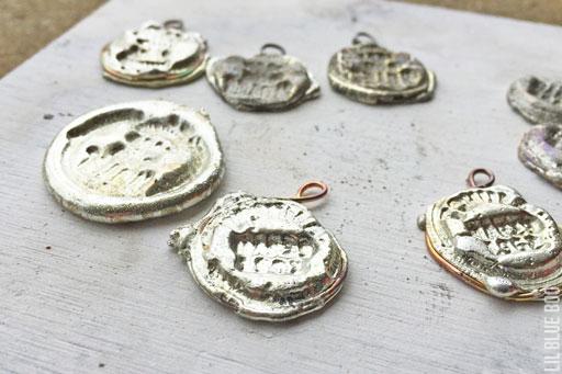 Rubber stamping melted solder to make pendants