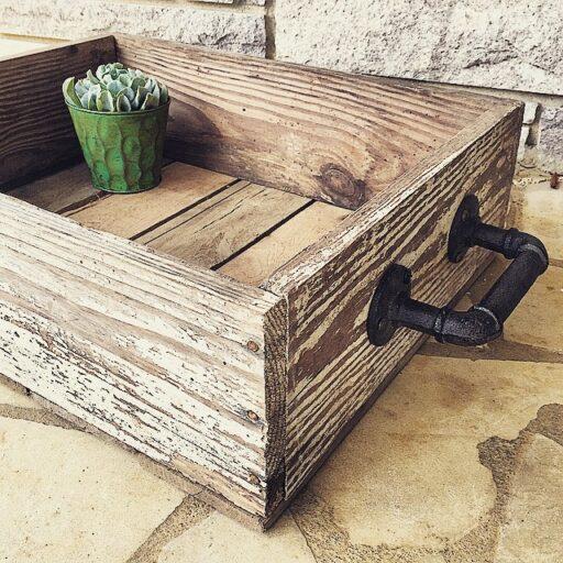 barn wood box with industrial handles