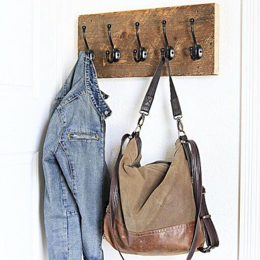 salvaged wood coat rack mud room ideas