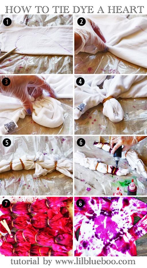 How to tie-dye a heart shape