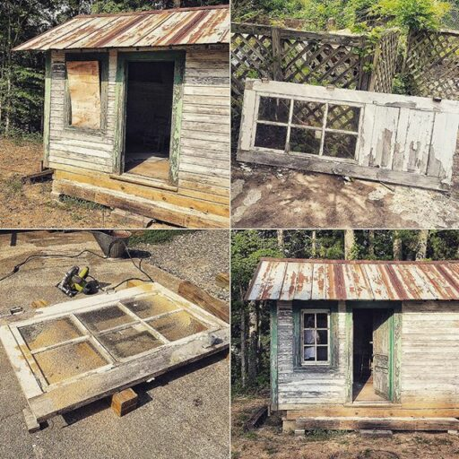 Fixing up the train depot: upcycling a window out of a door