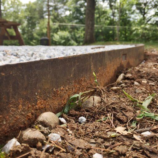 pea gravel border metal
