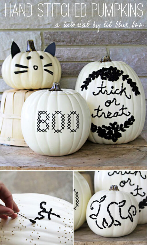 Embroidered hand stitched pumpkins no-carve