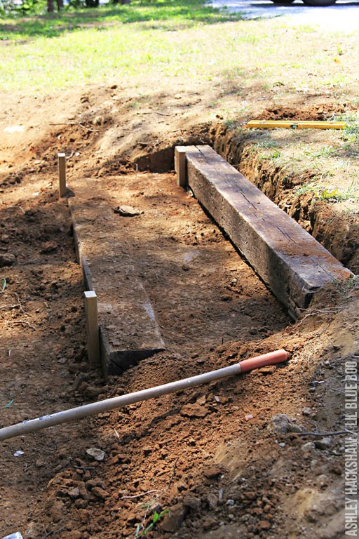 how to terrace a slope with railroad ties