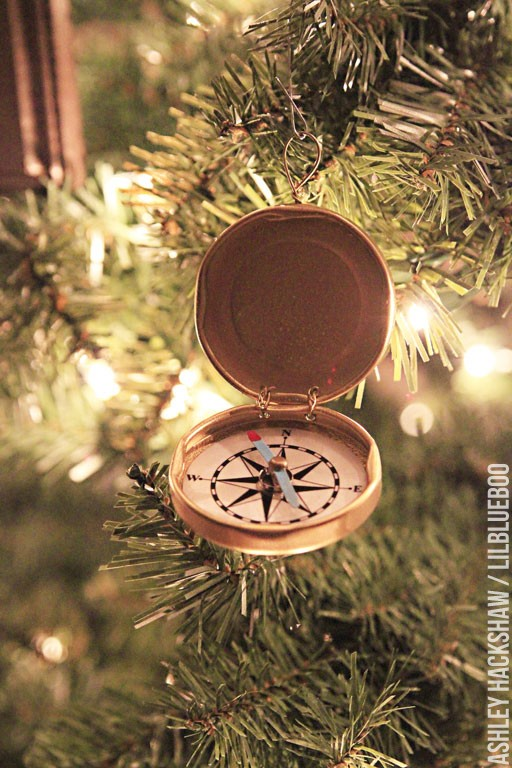 DIY Handmade Christmas Tree ornament ideas - vintage pocket compass