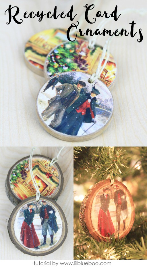 Recycled Christmas Card Ornaments that can be used as gift tags and keepsakes
